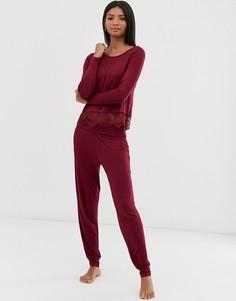 Пижамные брюки с кромкой манжетом Pour Moi - Красный