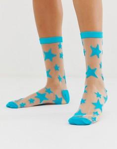 Полупрозрачные носки со звездочками Gipsy - Синий