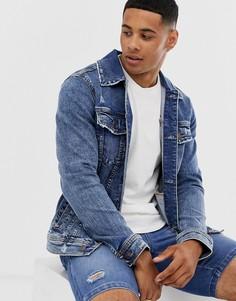 Светлая выбеленная джинсовая куртка Hollister - Синий
