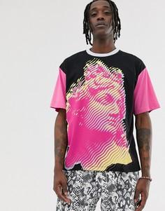 Розовая футболка с принтом греческого лица Heart & Dagger - Черный