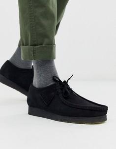 Черные замшевые туфли Clarks Originals wallabee - Черный