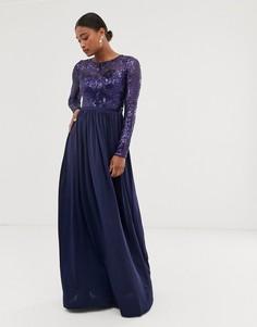 Платье макси с длинными рукавами и отделкой пайетками на лифе City Goddess - Темно-синий