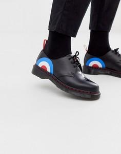 Туфли с 3 парами люверсов и принтом мишени Dr Martens x The Who 1461 - Черный