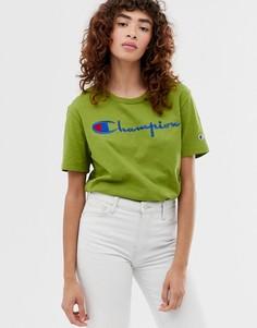 Свободная футболка с логотипом Champion - Зеленый