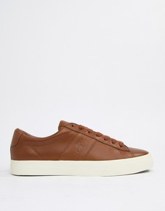 Светло-коричневые кожаные кроссовки с тисненым логотипом Polo Ralph Lauren - Рыжий