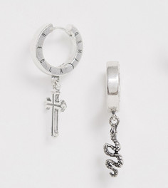 Серебристые серьги-кольца с подвеской и логотипом Reclaimed Vintage inspired эксклюзивно для ASOS - Серебряный