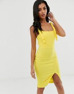 Облегающее платье с разрезом спереди и квадратным вырезом Vesper - Желтый