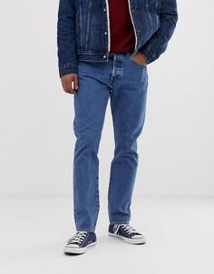 Выбеленные узкие джинсы с суженными книзу штанинами и заниженной талией Levis 501 - stonewashed - Синий