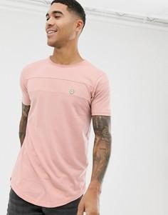 Удлиненная футболка с закругленным краем и вставками Le Breve - Розовый