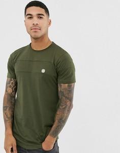 Удлиненная футболка с закругленным краем и вставками Le Breve - Зеленый