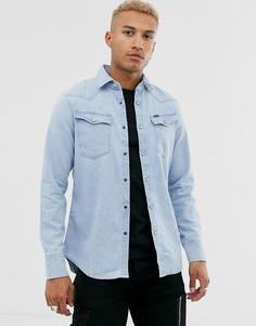 Голубая узкая джинсовая рубашка G-Star 3301 - Синий