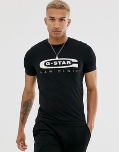 4 черные футболки из органического хлопка с логотипом на груди G-Star Graphic - Черный