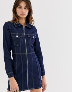 Темно-синее джинсовое платье из органического хлопка с молнией Weekday - Черный