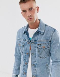 Голубая выбеленная джинсовая куртка с рваной отделкой Wrangler - Синий