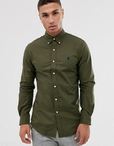 Приталенная рубашка на пуговицах из эластичного поплина с логотипом Polo Ralph Lauren - Зеленый