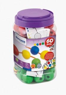 Набор игровой Miniland Lacing Balls (60 элементов, 35 мм) в контейнере