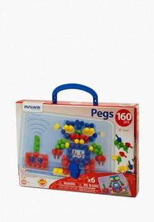 Набор игровой Miniland Мозаика Pegs 15 мм (160 элементов 6 картинок) в чемоданчике