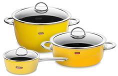 Наборы посуды из нержавеющей стали KOCHSTAR NEO Yellow Набор посуды из 3-х предметов, цвет желтый
