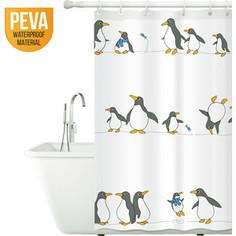 Штора для ванной комнаты Tatkraft PENGUINS, водонепроницаемый материал PEVA, магниты-утяжелители для лучшей фиксации, 12 шт овальных колец (18198)