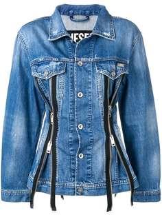 Diesel приталенная джинсовая куртка на молнии
