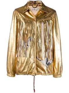 Golden Goose куртка с эффектом металлик и бахромой