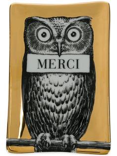 Fornasetti пепельница с принтом совы и надписью Merci