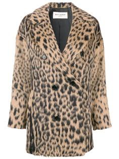 Saint Laurent двубортное пальто с леопардовым принтом