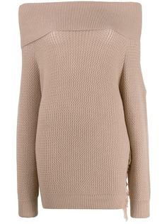Stella McCartney вязаный свитер с бахромой и открытыми плечами