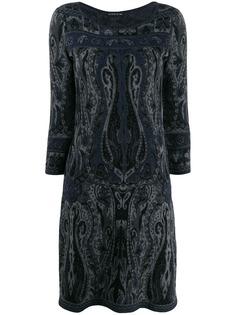 Etro трикотажное платье с узором пейсли
