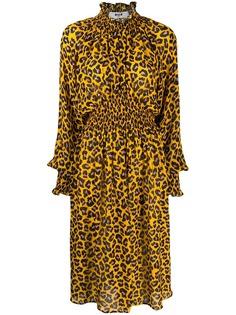MSGM платье миди с анималистичным принтом