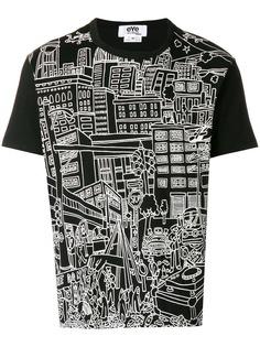 Junya Watanabe MAN футболка с принтом в виде городского пейзажа