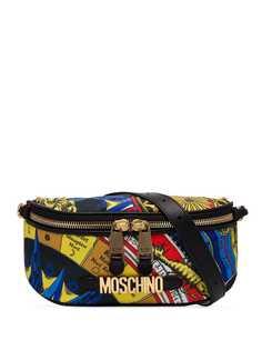 Moschino поясная сумка с принтом