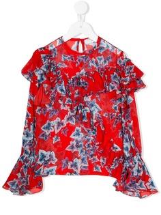 Philosophy Di Lorenzo Serafini Kids блузка с оборками и цветочным принтом