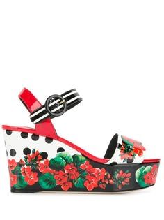 Dolce & Gabbana босоножки на танкетке с цветочным принтом