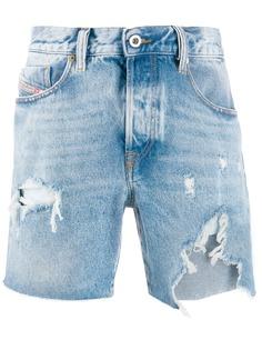 Diesel джинсовые шорты D-Kirm с эффектом потертости