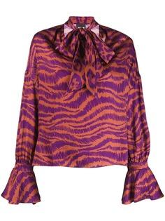 Just Cavalli блузка с бантом и анималистичным принтом