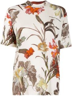 Off-White футболка с цветочным принтом