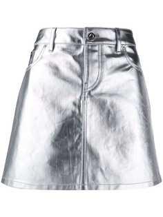 Paco Rabanne юбка мини с эффектом металлик