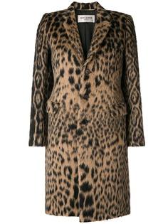 Saint Laurent однобортное пальто с леопардовым узором