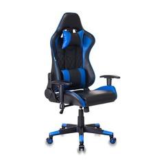 Кресло игровое БЮРОКРАТ СН-788, на колесиках, искусственная кожа [сн-788/bl+blue]