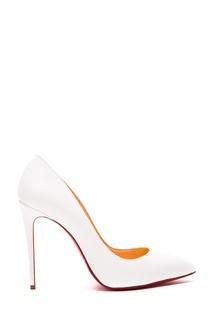 Белые кожаные туфли Pigalle Follies 100 Christian Louboutin