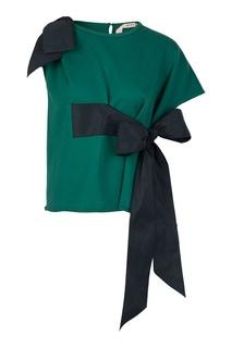 Зеленый свитшот с черными бантами No21