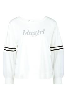 Белый свитшот с присборенными рукавами Blugirl