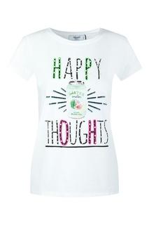 Белая футболка с принтом и бусинами Blugirl
