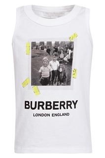Майка с принтом и логотипом Burberry Kids