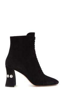Замшевые ботинки с кристаллами Miu Miu