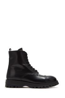 Высокие черные ботинки на шнуровке Prada