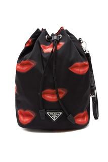 Текстильная сумка с принтом губ Prada