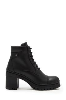 Черные кожаные ботинки на шнуровке Prada