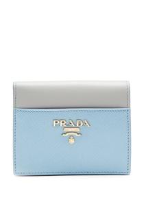 Двухцветный кожаный кошелек Prada